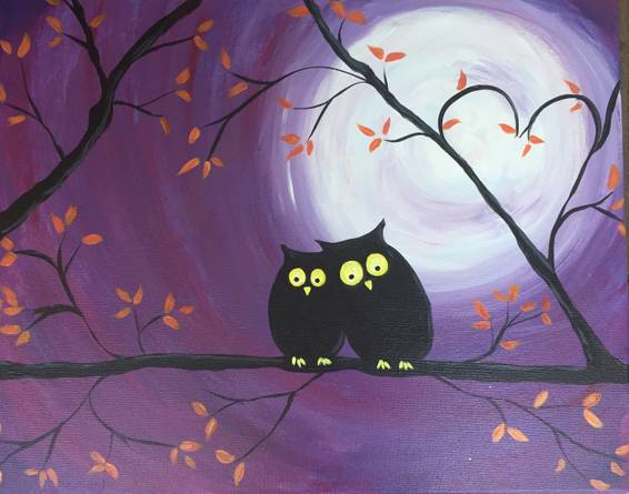 A Owl Love paint nite project by Yaymaker