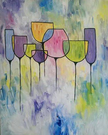 A Colorful Drinks paint nite project by Yaymaker