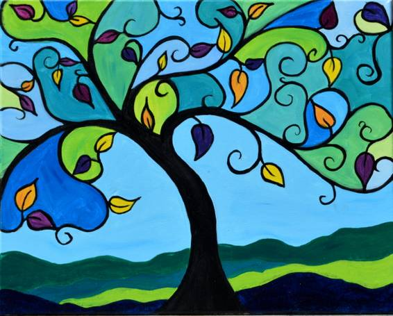 A Stained Glass Tree paint nite project by Yaymaker