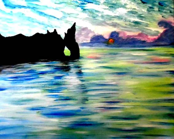 A Monets Sunset Cliff paint nite project by Yaymaker