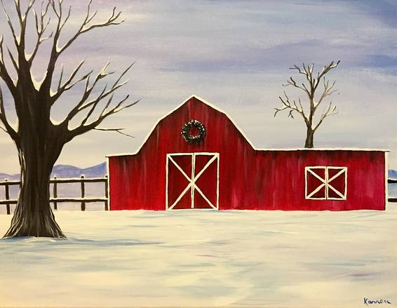 A Country Christmas paint nite project by Yaymaker