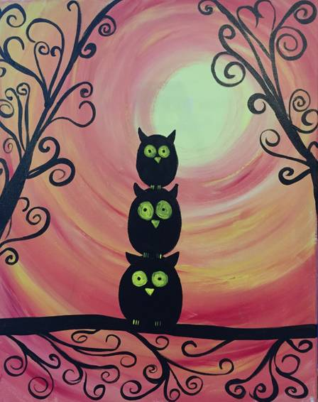 A Owl Family Fun paint nite project by Yaymaker