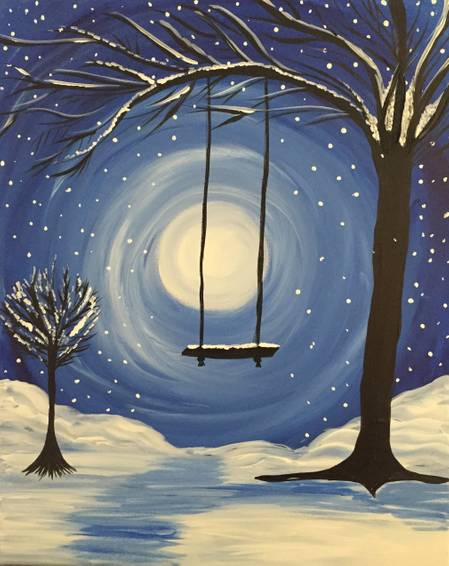A Whimsical Winter paint nite project by Yaymaker