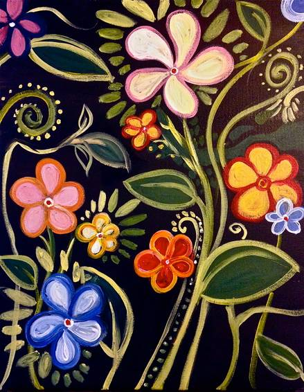 A Pastel Chalk Flowers paint nite project by Yaymaker
