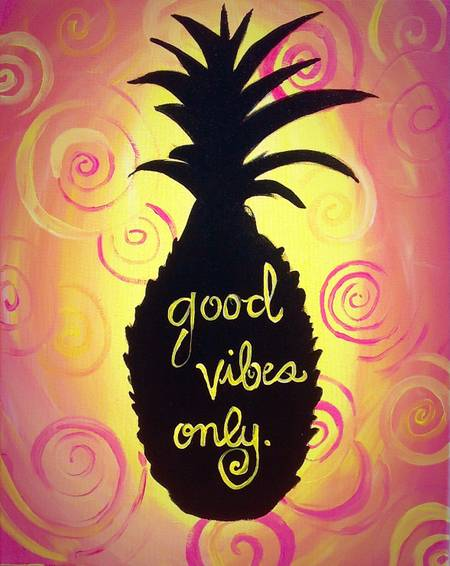 A Good Vibes Only paint nite project by Yaymaker