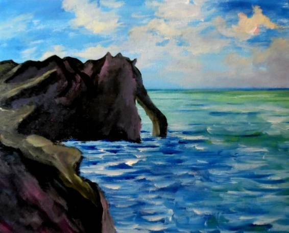 A Monets Port Cliffs paint nite project by Yaymaker