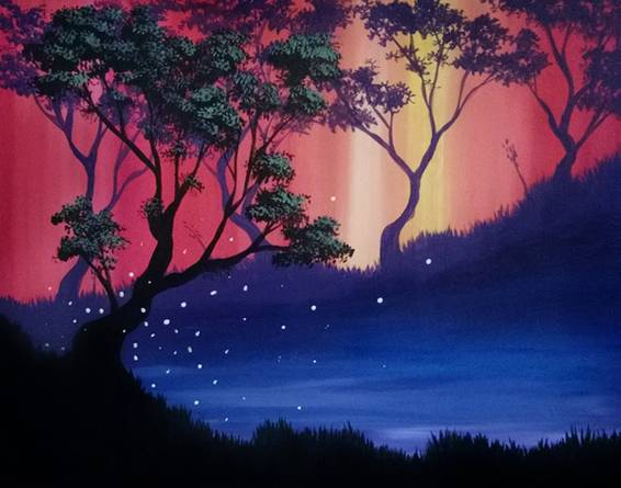 A The Silent Twins Left paint nite project by Yaymaker