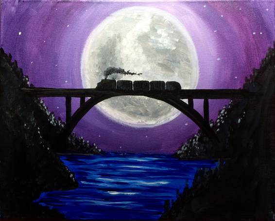 A Midnight Train paint nite project by Yaymaker