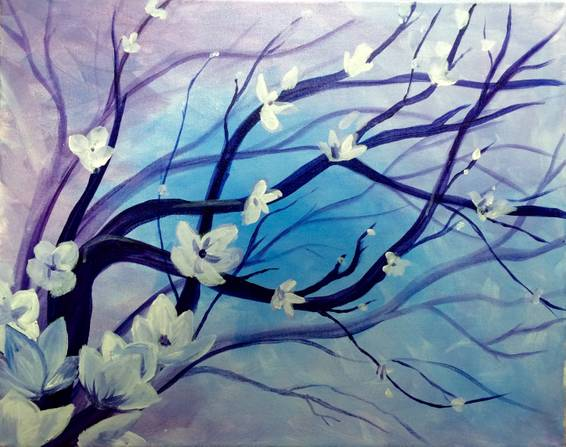 A Cool Blossoms paint nite project by Yaymaker