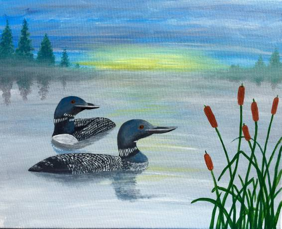 A Misty Morning Loons paint nite project by Yaymaker
