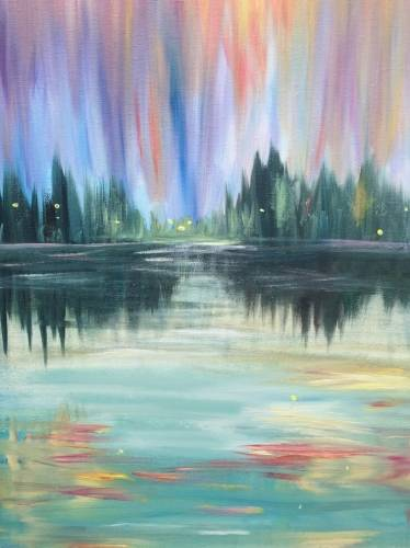 A Cabin Lights on the Lake paint nite project by Yaymaker