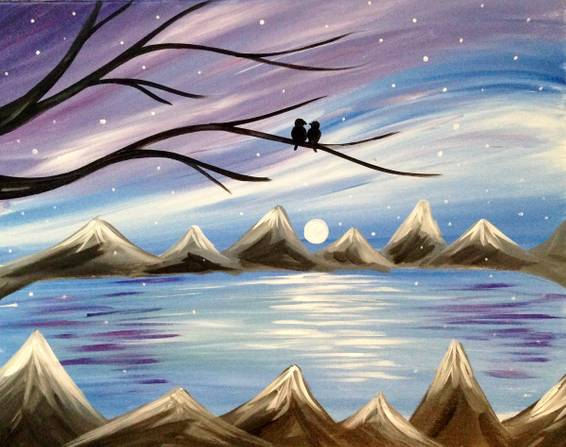 A Winter Love Birds paint nite project by Yaymaker