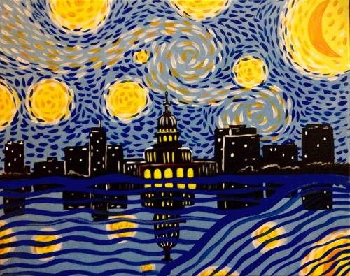 A Starry Night Madison II paint nite project by Yaymaker