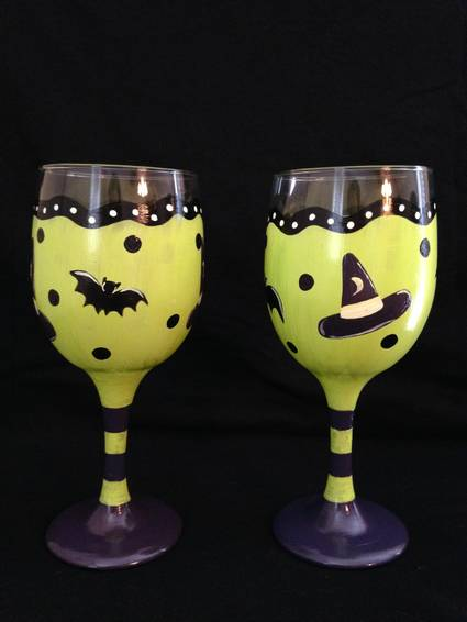 A Witches Brew Drinkware paint nite project by Yaymaker