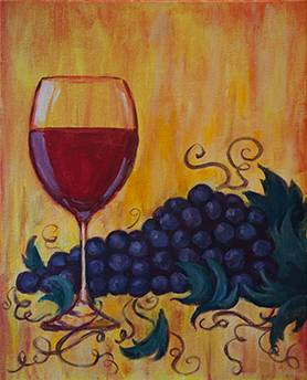 A Wine and Grapes paint nite project by Yaymaker