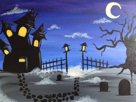 A Haunted Manor paint nite project by Yaymaker
