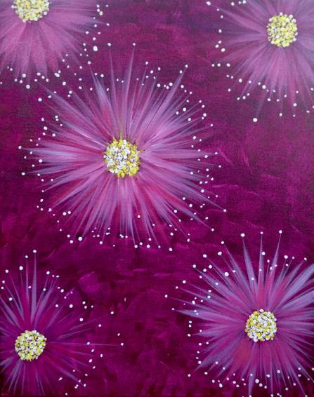A Firework Flowers paint nite project by Yaymaker