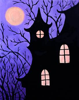 A Halloween House paint nite project by Yaymaker