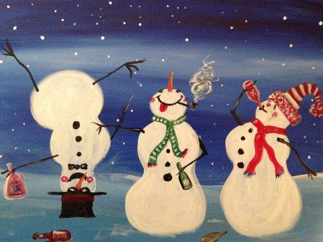 A Drunken Snowmen paint nite project by Yaymaker