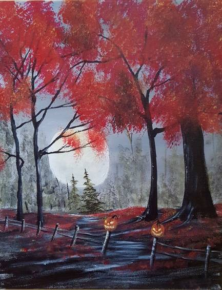 A Haunted Path paint nite project by Yaymaker