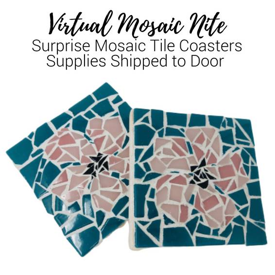 A Virtual Mosaic Nite Surprise Tile Coasters Supplies Shipped to Door experience project by Yaymaker
