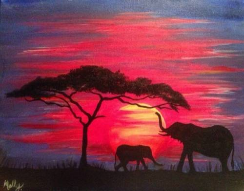 A Elephants Sunset paint nite project by Yaymaker