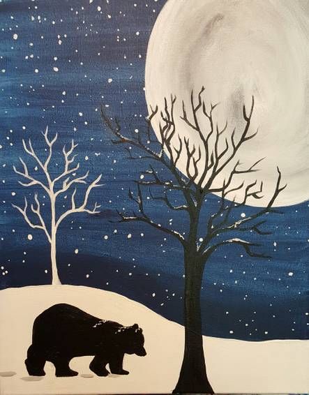 A Bear Bedtime paint nite project by Yaymaker