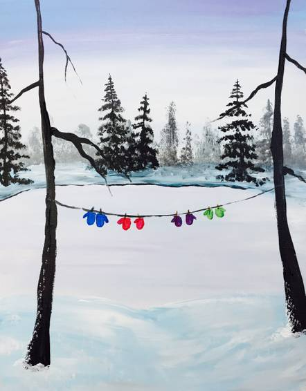 A Winter Hang Out paint nite project by Yaymaker