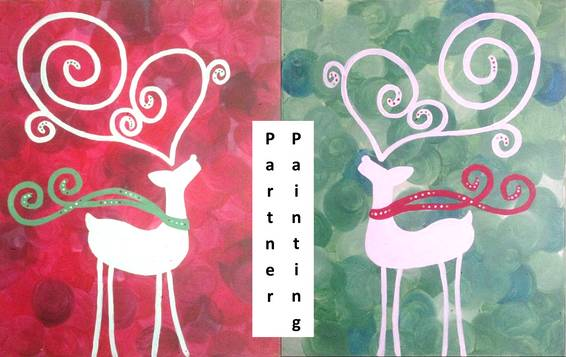 A Deer Partner Painting paint nite project by Yaymaker