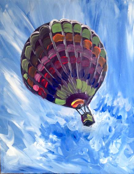 A Rainbow Hot Air Balloon paint nite project by Yaymaker