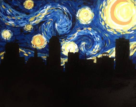 A Starry Starry Fresno paint nite project by Yaymaker