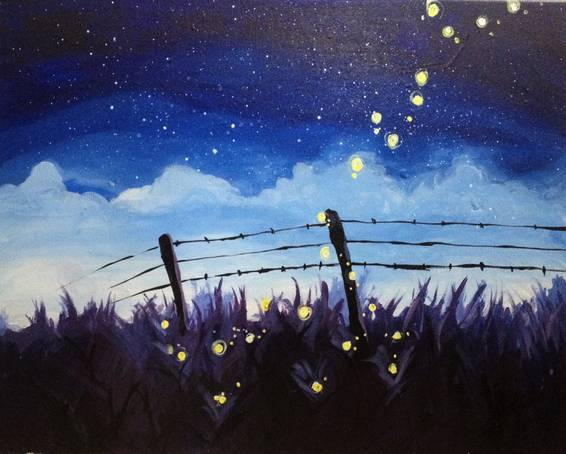 A Fireflys and Starry Skies paint nite project by Yaymaker