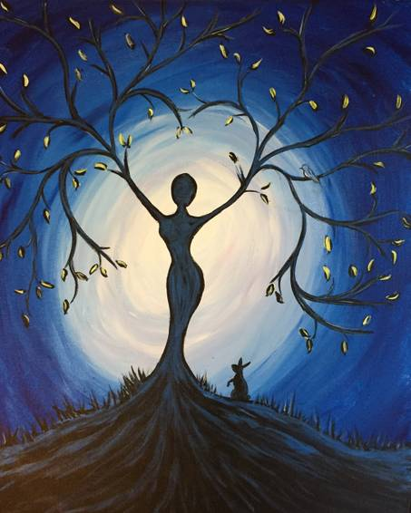 A Blue Tree Goddess paint nite project by Yaymaker