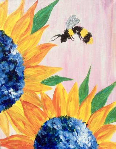 A BumbleBee  Orange Sunflower paint nite project by Yaymaker