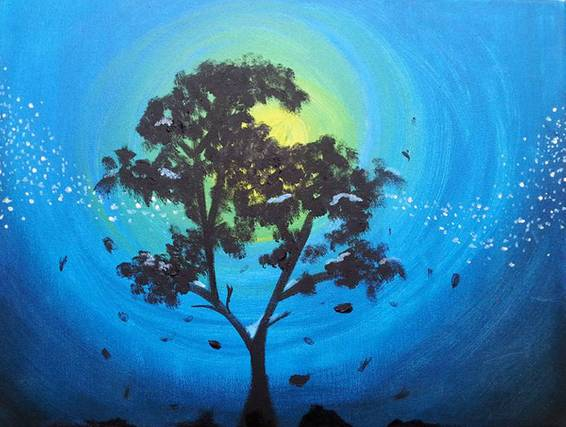 A Winter Comes paint nite project by Yaymaker