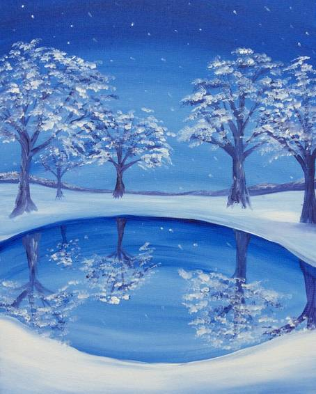A Winter Reflection paint nite project by Yaymaker
