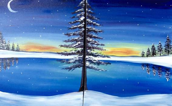 A Frozen Lake Partner Painting paint nite project by Yaymaker