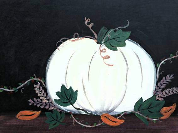 A Ghost Pumpkin paint nite project by Yaymaker