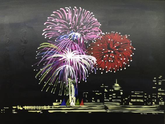 A Fireworks At Five Sails paint nite project by Yaymaker