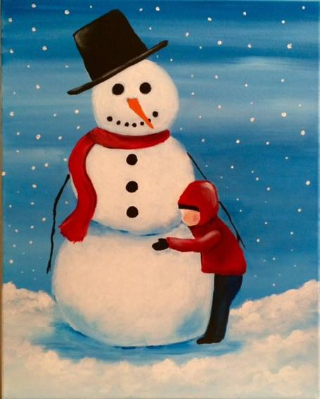 A Snowman Hugs paint nite project by Yaymaker