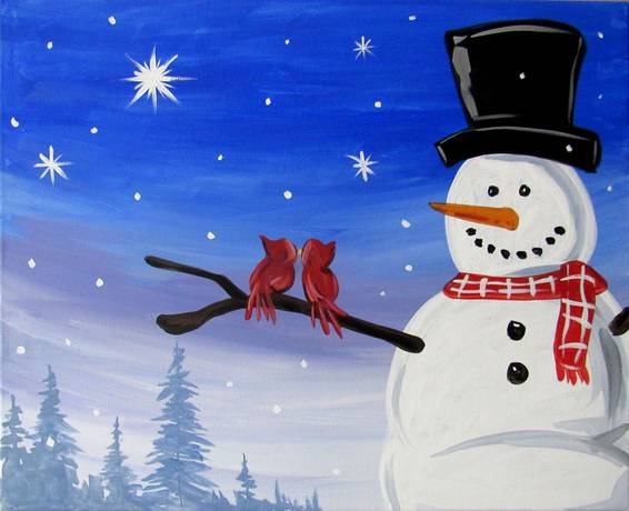 A Holiday Love Birds paint nite project by Yaymaker