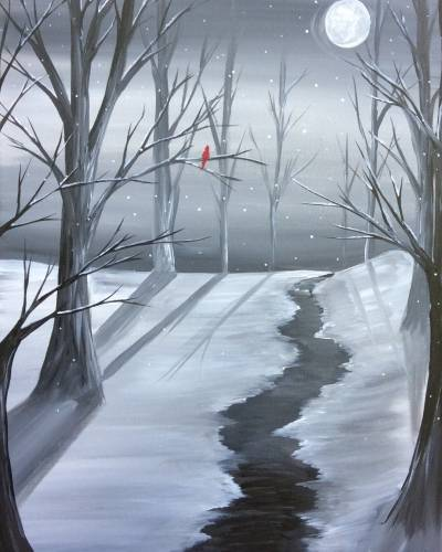A Icy Winter Stream paint nite project by Yaymaker