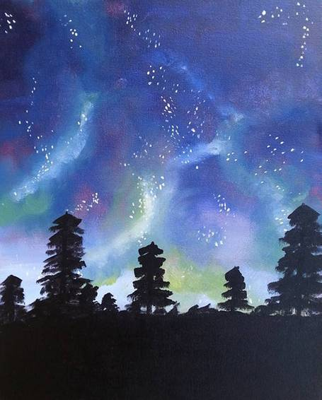 A Roaming In The Midnight Sky paint nite project by Yaymaker