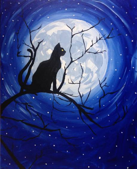 A Black Cat Moonlight paint nite project by Yaymaker