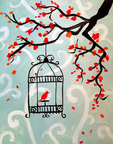 A Birdcage Tweet paint nite project by Yaymaker