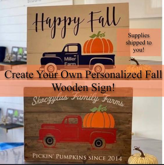 A Create Your Own Fall Wooden Sign Supplies Shipped To You experience project by Yaymaker