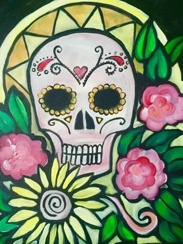 A Mezcal Calavera Sugar Skull paint nite project by Yaymaker