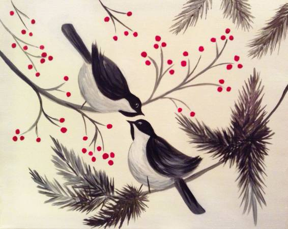 A Chatting Chickadees paint nite project by Yaymaker