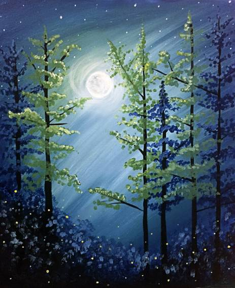 A Midnight Forest paint nite project by Yaymaker