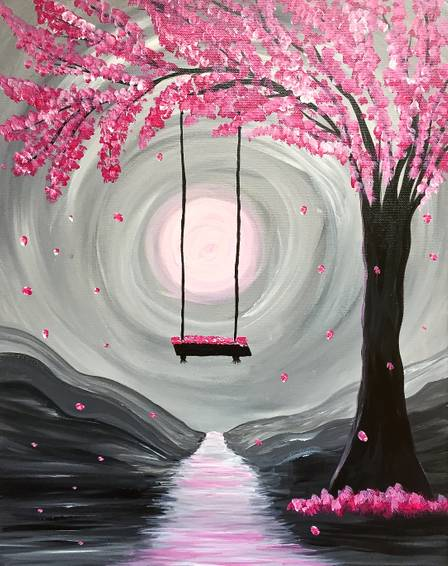 A Whimsical Spring Blossoms paint nite project by Yaymaker